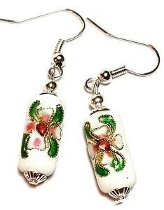 Short Silver White Chinese Cloisonne Bead Earrings Antique Vintage Chic Style