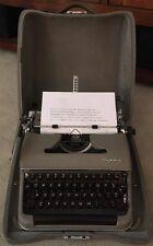 Vintage 1956 Olympia SM3 DeLuxe Portable Khaki Typewriter & Case Germany EUC