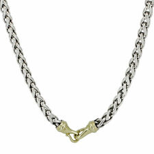 """David Yurman 8mm Wheat Chain Necklace in Sterling Silver and 14k Gold 24"""""""