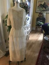1900s French Net Lace Wedding Dress Cream Ornate Trapunto Embroidery Panier