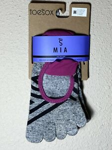 ToeSox MIA Full Toe Grip Sole Socks Women's MEDIUM Ziggy yoga pilates NWT