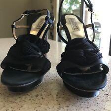 Badgley Mischka Womens Open Toe Slingback Heels 7.5 M Black Satin Flower Detail