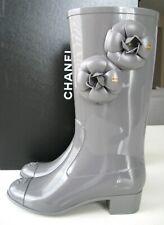 Chanel Grey Camellia Flower Rain Boots.  Size 35B / US 5B