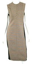 VICTORIA BECKHAM $1,590 Multi Plaid Wool Front Black Crepe Sheath Dress 6