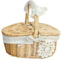 1X(Handmade Wicker Basket Camping Picnic Basket with Double Lids Shopping W8B5