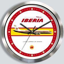 IBERIA SPANISH AIRLINES DOUGLAS DC-8 WALL CLOCK 1960s 1970s metal