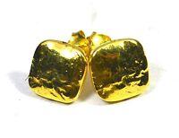 Women Jewelry 925 Sterling Silver Plain silver Gold Plated Earrings 1 Cm CCI