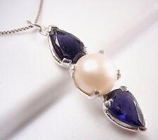 Blue Iolite Cultured Pearl Pendant 925 Sterling Silver 3-Gem Corona Sun Jewelry