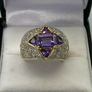 9ct Gold Hallmarked Cubic Zirconia & Amethyst Dome Ring.  Goldmine Jewellers.