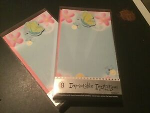 Lot of 2 (packs of 8)  Butterfly Imprintable Invitations Amscan Brand