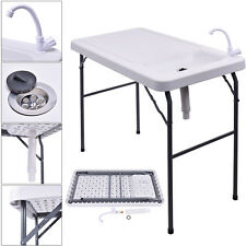 2018 Folding Portable Fish Table Hunting Cleaning Cutting Camping Sink Faucet