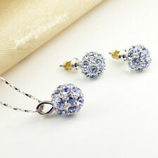 Classical 18k white gold filled with Blue Diamond Crystals Ball Necklace & Stud