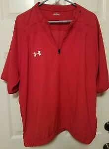 Under Armour Men's Large Red Warm Up Track Jacket 1/4 Zip SS Embroidered Logo