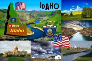 Idaho,USA Carte / Drapeau- Souvenir Nouveauté Réfrigérateur Aimant - Sites /