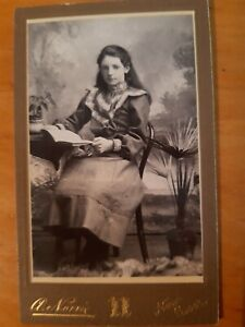 CDV Photo Young Woman Lady reading Book & Pot Plants Norrie New Deer Aberdeen WW