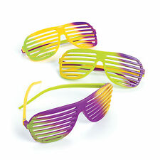 12 Plastic Mardi Gras shutter shade sunglasses Costume Party Favor FAT TUESDAY