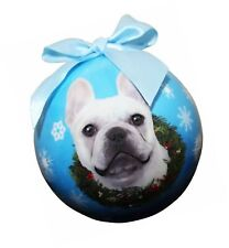 """""""French Bulldog White Christmas Ornament"""" Shatter Proof Ball Easy To Personal."""
