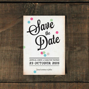 Personalised Vintage Confetti Wedding Save the Date or Save the Evening