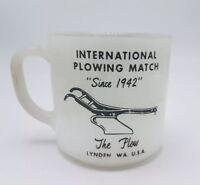 Vintage Federal Glass Heat Proof Mug Milk Glass International Plowing Match