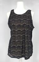 Maurices Blouse Women's Plus Size 1X Lace Tank Top Black Floral Scalloped Top