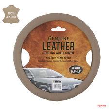 New BDK Genuine Beige Leather Car Truck Steering Wheel Cover - Medium Size