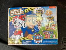 Paw Patrol : 5 Wood Puzzles & Storage Box. Nickelodeon Sealed