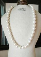 "18"" AAA 11-12 MM SOUTH SEA NATURAL White PEARL NECKLACE 14K GOLD  CLASP"