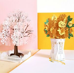 Mother's Day Cherry Blossom Fence & Yellow Rose Bouquet 3D Pop Up Card 2 pcs