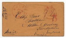 TRANS-ATLANTIC Ship Cover 1853 Prepaid Racine, Wisconsin to London Paid 24c