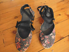 LADIES BLACK FLORAL WEDGE SHOES WITH ANKLE TIE BY RUBI - SIZE 39 - AUS 8/8.5