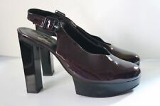 ROBERT CLERGERIE SHOES PATENT LEATHER PLATFORM SLINGBACK PUMP HEELS BURGUNDY 6.5