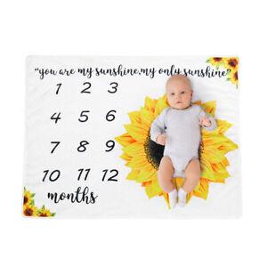 New Sunflower Soft Baby Monthly Milestone Blanket Swaddling Wrap Photo Prop