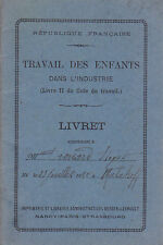 C1 LIVRET TRAVAIL ENFANTS 1937 Lorraine VEZELISE Belleville MEURTHE ET MOSELLE