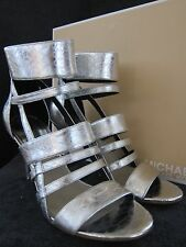 MICHAEL KORS Shiloh Silver Metallic Embossed Leather Open Heels Shoes US 8 NWB