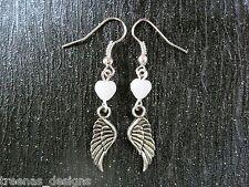 *Angel Wing White Heart* Drop Earrings Sp Gift Pouch Bird Wing Rockabilly Tattoo