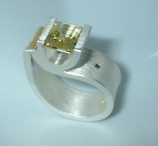 Ring m. Amethyst,weißer Diamant, Feinsilber 999, Handmade, Flamere Design