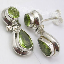 925 Sterling Silver CUT PERIDOT 2 Gemstone Stud Earrings 2.1 CM FACTORY DIRECT