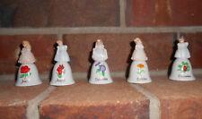 Vtg 5 Mini Bells Russ Berrie & Co Porcelain Little Girls For Handle 5 Months Ec