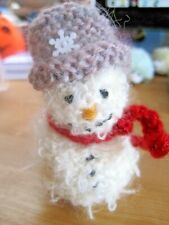 FLUFFY HAND KNITTED SNOWMAN DECORATION / BROOCH. XMAS. MORE IN STOCK