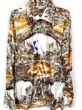 Vtg Oleg Cassini Burma Mens 70s Slinky Nylon Disco Shirt Nos M or L Baseball Crk