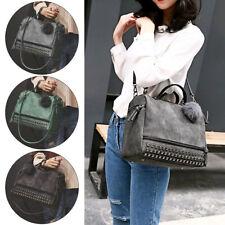 New Womens Studded Large Leather Shoulder Handbags Bag Ladies Satchel