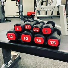 Life Fitness Dumbbells Set (2.5, 5, 7.5 & 10 lbs. Pairs), fits indoor cycle rack