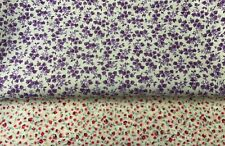 2 pieces of colourful cotton fabric cream, pink, purple, patchwork, floral