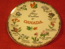 """8"""" PORCELAIN Collector Plate THE FLOWER EMBLEMS OF CANADA Hand Painted [Z60]"""