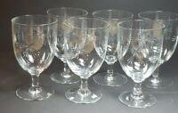 Vintage Starburst Etched Clear Stemmed Cocktail Crystal Glasses Lot of 6 EUC