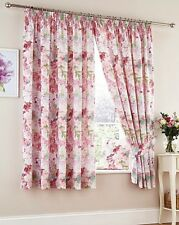 Blossom Pink Multi 3 Pass Thermal Blackout Printed Floral Curtains by Wendy Tait Pair of Tie Backs