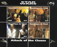 Chad 2015 Star Wars Attack of the Clones 4 Stamp Sheet  3B-388