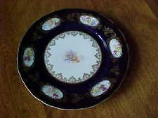 "ANTIQUE BEAUTIFUL PORCELAIN  8-1/2"" ROSENTHAL COBALT BLUE PLATE W FLORAL DESIGN"