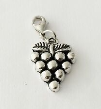 LOVELY SILVER BUNCH OF GRAPES  CLIP ON CHARM FOR BRACELET -TIBETIAN SILVER - NEW