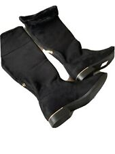 Knee Length Black Mock Suede Boots Size 6